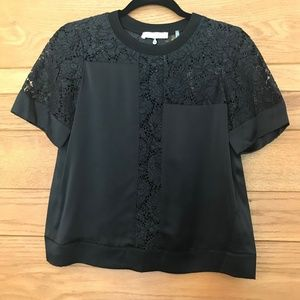 Rebecca Taylor lace and silk short sleeve blouse